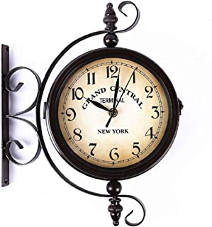 JIANGYE Vintage Double Sided Wall Clock Round Wall Hanging 360 Degree Rotate Antique Two Faces Train Railway Station Style Clock Hanging Clock with Scroll Wall Side Mount Home Décor