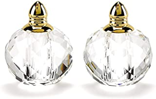Badash - Pair of Crystal Salt & Pepper- Zendra-Gold H 2.5 in