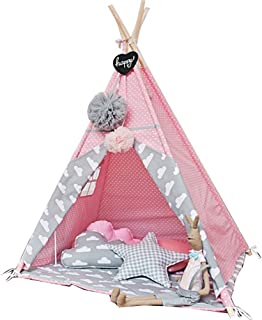 Pink Color Kids Play Tent Teepee Play House Teepee Tent Outdoor and Indoor with mat and Decoration