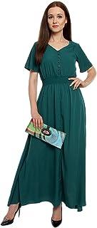 Lady Strak Women's Western V-Neck Half Sleeve Green Dress