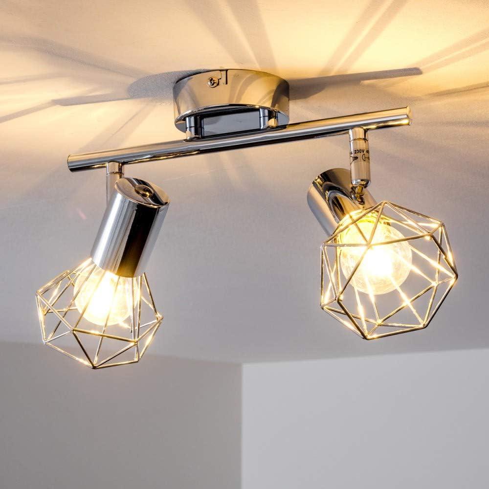 Deckenleuchte Baripada, Deckenlampe aus Metall in Schwarz, 4-flammig, 4 x E14-Fassung max. 40 Watt, verstellbarer Spot im Retro/Vintage Design in Gitter-Optik m. Lichteffekt an der Decke, LED geeignet Orebro 2-spot