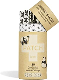 PATCH Kids Organic Bamboo Adhesive Strip Bandages w/Coconut Oil, Panda Print, 25 Count