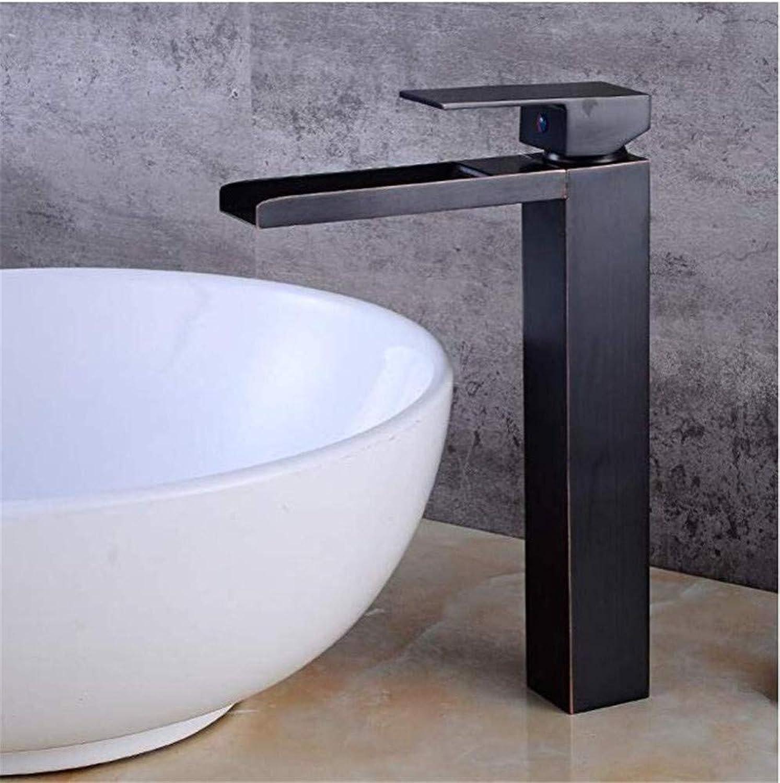 Chrome-Plated Vintage Bathroom Brass Counter Basin Faucet Black Ancient Basin Waterfall Faucet Bathroom Hot Wash Basin Faucet