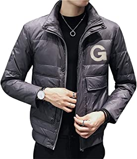 Down Jackets Winter Men's Lightweight Down Jacket, Trend Tooling Jacket Men, Thick Collar Collar Autumn and Winter Clothing (Color : Gray, Size : XL)