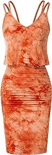 GRACE KARIN Donna Vestito Elegante Design Tie-Dye Scollo a V Donna Tubino Scollo a V Maniche Lunghe Bodycon