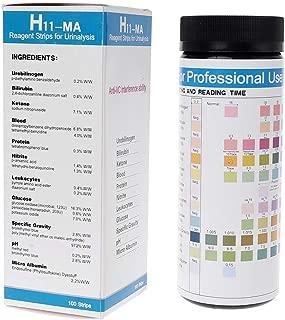 Biuuu 100ストリップ H-11MA 尿検査ストリップ アンチVC干渉機能付き テストウロビリノーゲンビリルビンケトン血液タンパク質亜硝酸白血球など