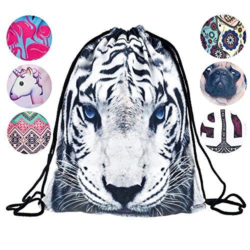 Creativee - Sac à dos imprimé avec cordon de serrage - Pour enfant (unisexe) - En nylon - Sac pliable pour l'école, la maison, le sport - Sac de rangement ou de voyage, tigre