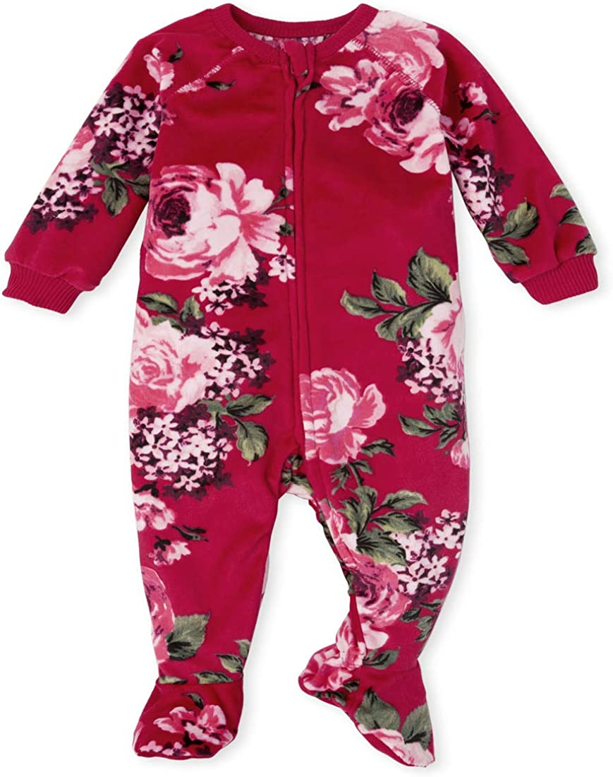 The Children's Place Girls' Baby and Toddler Mommy and Me Floral Velour Matching One Piece Pajamas