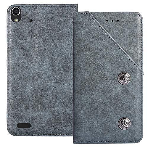 YLYT Flip Blue Schutz Hülle Hülle Für Medion Life P5004 MD 99253 5 inch Etui Leder Tasche Handyhülle Hochwertiges Stoßfeste Kartenfach Cover