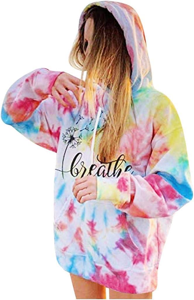 shendaf Tie Dye Sweatshirt Womens Fashion Hoodie Sweatshirts Long Sleeve Letter Print