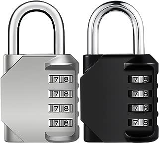 KeeKit Combination Lock, 4 Digit Combination Padlock, Resettable Combo Lock, Waterproof Gate Lock for Locker, Gym, Cases, Toolbox, School, Employee, Fence - 2 Pack, Silver & Black