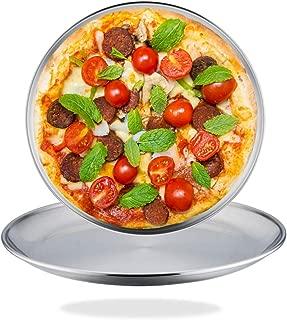 TeamFar - Juego de 2 bandejas para pizza de acero inoxidable