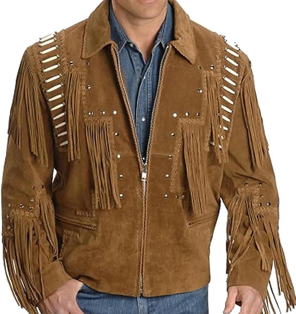 coolhides Men's Western Cowboy Leather Jacket Fringed and Bones