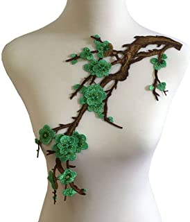 Colorful Embroidered Lace Neckline Collar Floral Brown Leaf Applique Patches Scrapbooking Embossed Sewing (Green B)