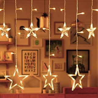 Alanda Star Curtain String Lights ,12 Star 138 LED Fairy Lights Curtain, Warm White 110V 3M(W2M(H) 8 Flashing Modes Christmas Decoration for Wedding Holiday Party Backdrop Patio Lawn and Home