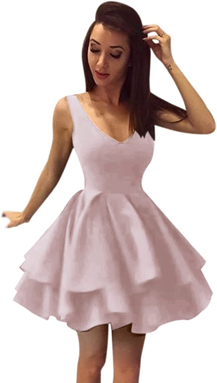 Harsuccting Tank Neck Backless Ball Gown Short Cocktail Homecoming Dress