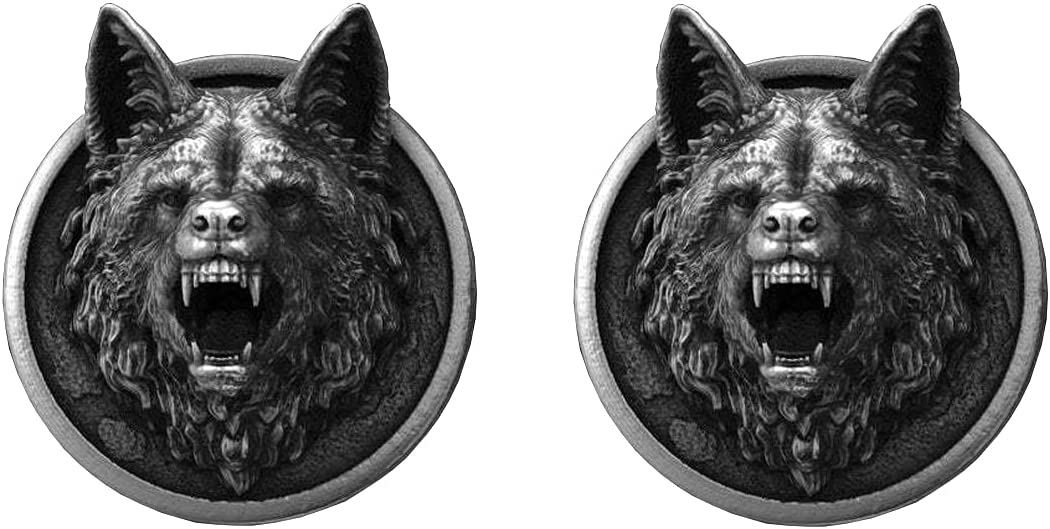 BO LAI DE Men's Cufflinks Retro Roaring Wolf Head Pure Tin Cufflinks Shirt Cufflinks Suitable for Business Events, Meetings, Dances and Parties, with Gift Box