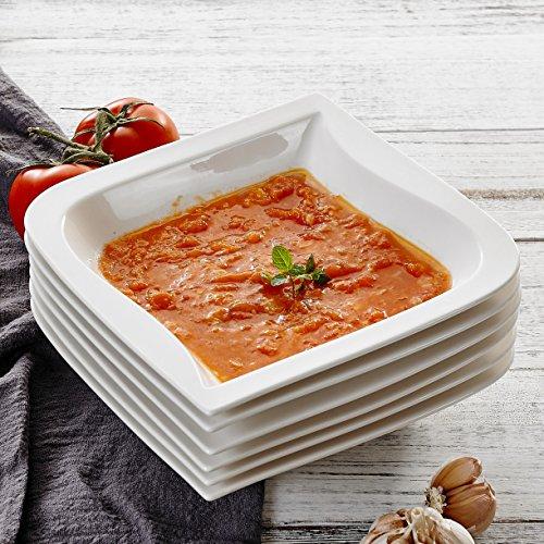 MALACASA, Serie Joesfa, 18 TLG. Porzellan Suppenteller Tiefteller Set CremeWeiß