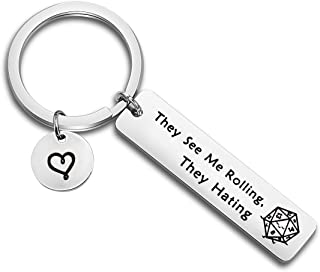 They See Me Rolling They Hating Keychain Dungeons and Dragons Gift Geek Nerd Fantasy Gift