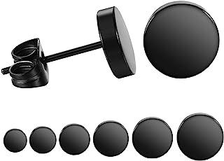 طقم أقراط أذن سوداء دائرية من الفولاذ المقاوم للصدأ من LIEBLICH للرجال والنساء، 6 أزواج 3 مم - 8 مم ... (أسود)
