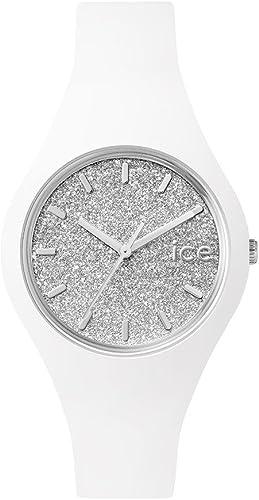 Ice-Watch - ICE glitter White Silver - Montre blanche pour femme avec bracelet en silicone