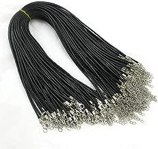 Ogquaton Cordon de collier ciré avec fermoir mousqueton pour la fabrication de bracelets de bijoux (noir)
