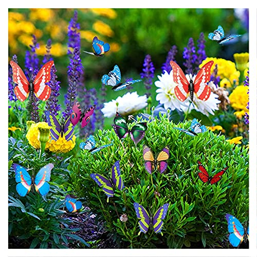 20pcs Schmetterling & 4pcs Libelle Deko Garten Ornamente, Bunte Schmetterlinge Blumenstecker für Pflanze / Hof / Garten Sommerhäuser / Party Dekoration
