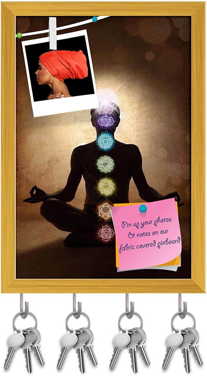 Artzfolio Man in Lotus Pose with Chakra Symbols Key Holder Hooks   Notice Pin Board   golden Frame 12 X 17.5Inch