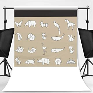 Animal Origami Vector Photography Backdrop,163077 for Video Photography,Pictorial Cloth:6x10ft