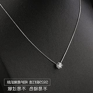 Small universe tis925 silver single diamond necklace pendant exquisite diamond women girls short paragraph clavicle chain silver fashion