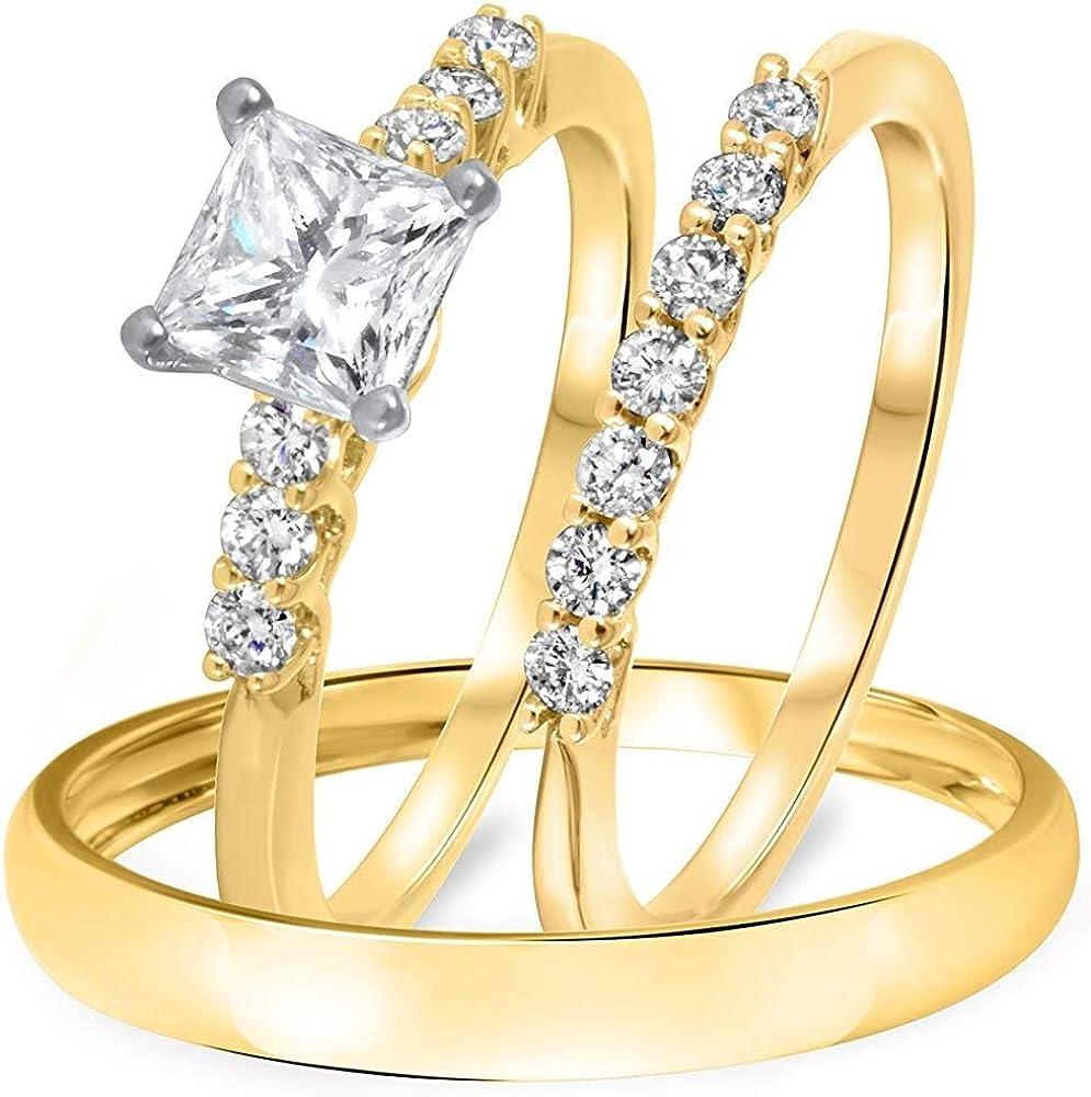 Fort Worth Mall Triostar 2 Ct Princess Round Her Engagement His Genuine Diamond Wedd