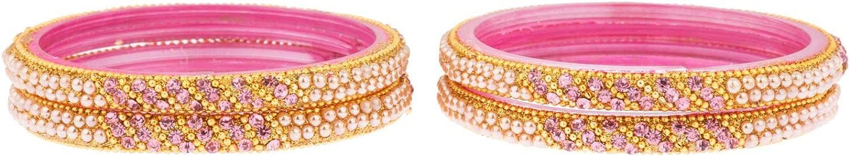 Efulgenz Indian Bollywood Wedding Bridal Rhinestone Crystal Pearl Handmade Acrylic Bracelet Bangle Set Jewelry