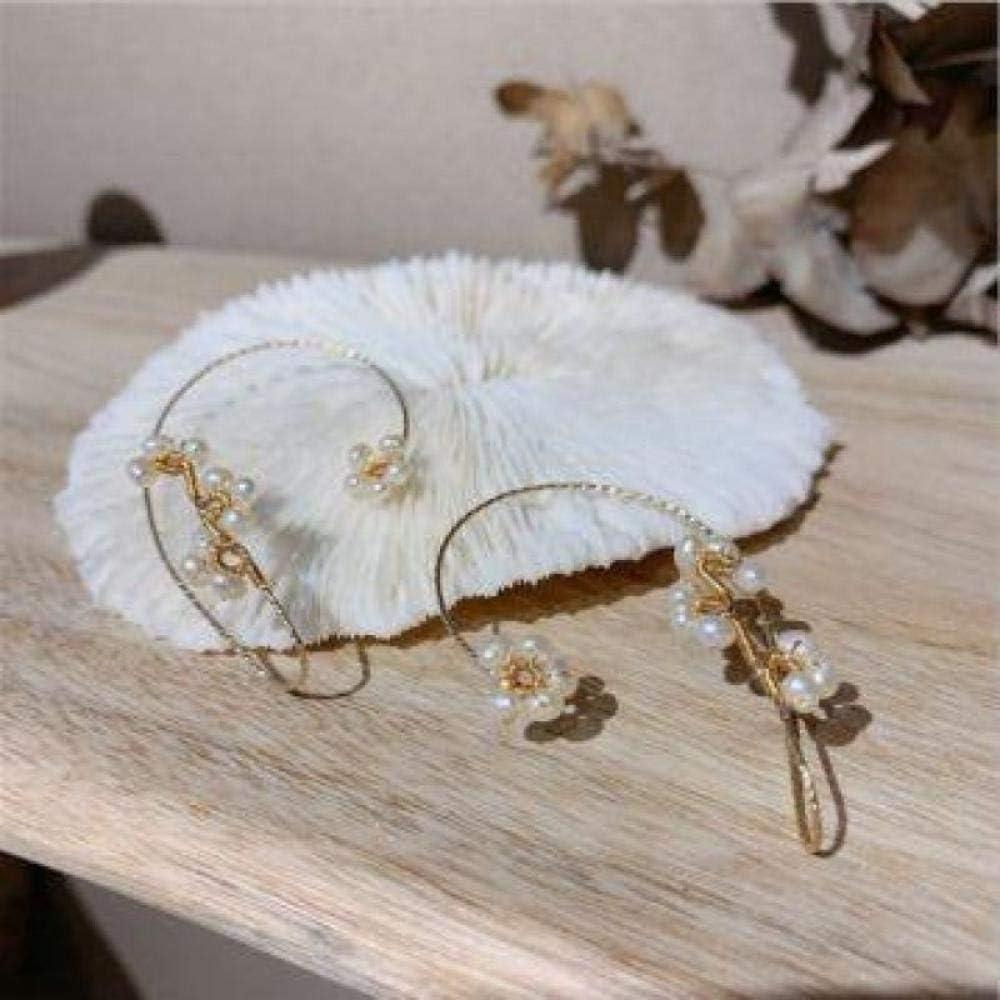 Vintage Ear Cuff Earrings Women Fashion Beading Ear Hook Non-Piercing Ear Wrap Crawler Hook Earrings -Pearl_2pcs