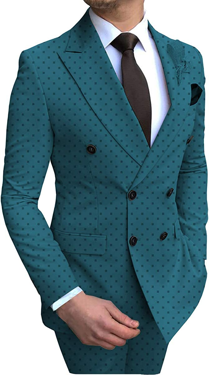Zeattall Men's Double Breasted Blazer Suit for Wedding Groom Tuxedos 2 Pieces Slim Fit Best Man Suits