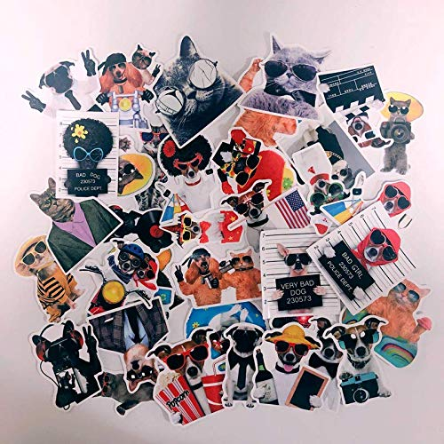 WWLL 38 Cute Cat and Dog Pet Suitcase Stickers for Cats and Dogs