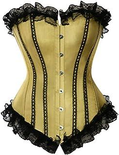 مشد صدر من الساتان بأربطة لأعلى وصدرية مع دانتيل كورسيه على الطراز الفيكتوري للملابس الداخلية (اللون: أصفر، المقاس: إكس لارج)