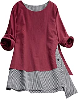 Effulow Women Fashion Tops Button V-Neck Long Sleeve Plus Size Splice Cotton Tee Shirt Lattice Loose Blouse