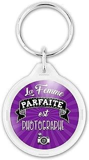 Humour Femme Id/ée Cadeau Anniversaire F/êtes Jeton Caddie Metal Cuir Blanc sur Noir Reloadshop Porte-Cl/és La Femme Parfaite est N/ée en Septembre