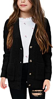 Girls Sweaters Kids Open Front Button Down Knit Cardigans...