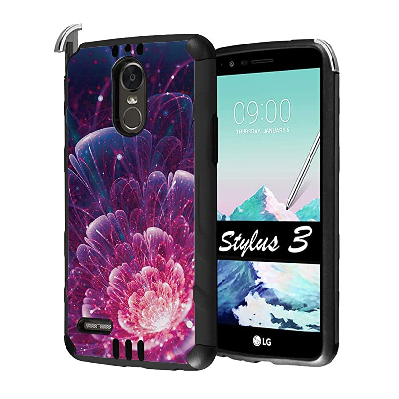 Capsule Case Compatible with LG Stylo 3, LG Stylo 3 Plus [Hybrid Dual Layer Supports Qi Wireless Charging Slim Defender Armor Combat Case Black] for LG Stylus 3 - (Space Floral)