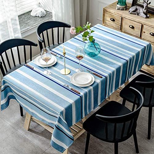JLYZB Nähen Streifen Tischdecke, Nordic Moderne Tischdecke Haushalt Tee Tisch Stoff Tischplatte Dekoration Rechteck Tischwäsche-Marineblau 130x180 cm (51x71 Zoll)