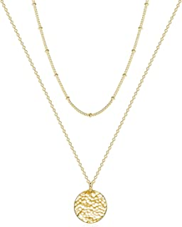Women Moon Necklace Hammered Coin Full Karma Circle New...