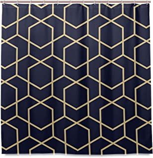 DZGlobal Geometric Shower Curtain Gold Texture Rhombuses Abstract Geometric Lines with Blue-Black Background Pattern Polyester Fabric Waterproof Shower Curtains Set for Bathroom Decor with 12 Hooks