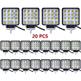 Turboo LED Light Bar 48W 4' LED Light Pods Spot Square Work Light Offroad Light Led Fog Light Truck Light Driving Light Boat Lighting for Truck Pickup Jeep SUV ATV UTV, Pack of 20