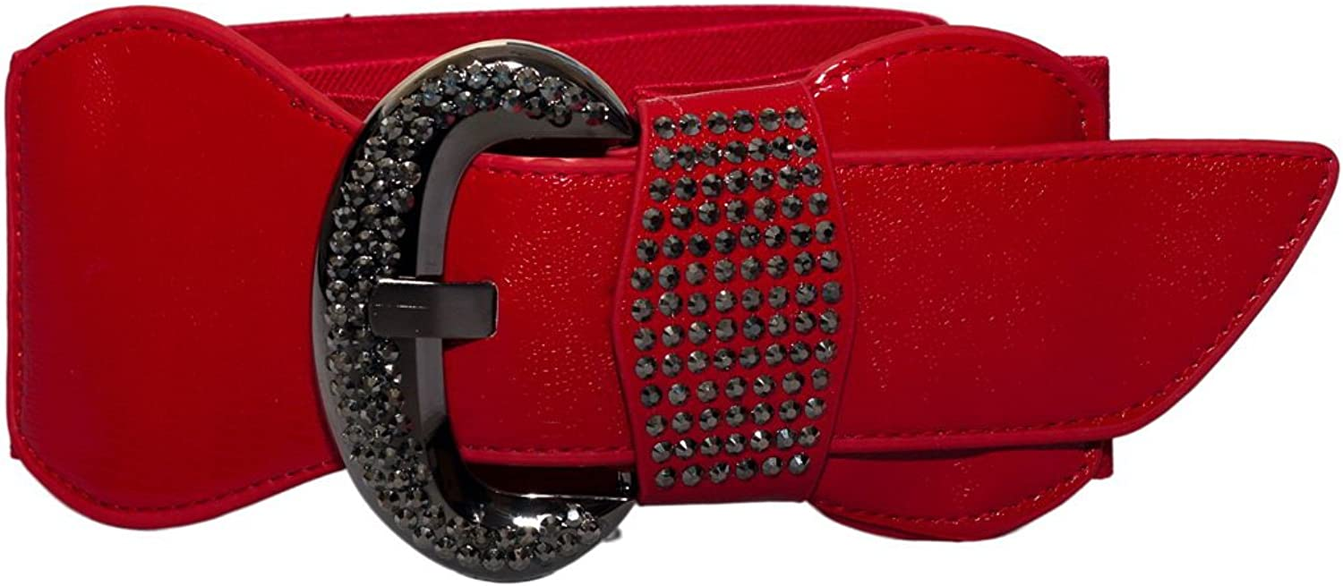 EVogues Plus Size Rhinestone Studded Leatherette Belt