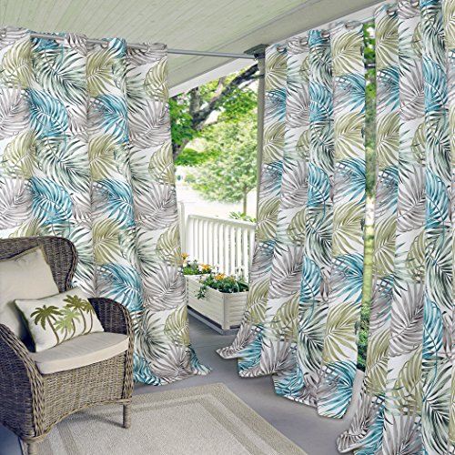 Elrene Home Fashions Indoor/Outdoor Grommet Top Single Patio Curtain Tropical Bahamas Leaf Print Window Drape, 50' x 95' (1 Panel)