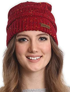 Cable Knit Beanie for Women - Warm & Cute Multicolored Winter Hats - Thick, Chunky & Soft Stretch Knitted Caps for Cold Weather - Stylish & Trendy Snow Beanies for Ladies