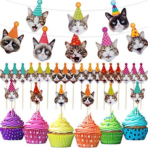 25 Stück Katzen Party Dekorationen, inklusive Katzen Gesicht Banner und 24 Stücken Katzen Cupcake Toppers für Katzen Thema Geburtstag Party