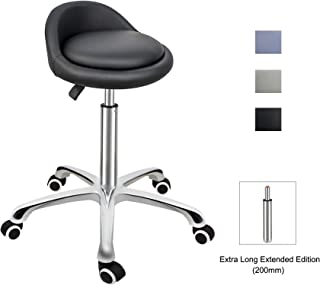 Grace & Grace Professional Gilder Series with Backrest Comfortable Seat Rolling Swivel Pneumatic Adjustable Heavy Duty Stool for Shop, Salon, Office and Home (Classic Steel Base, Black)