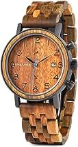 BOBO BIRD S18-1 Mens Wood Watch Stylish Analog Quartz Date Display Wooden Chronograph with Luminous Pointers